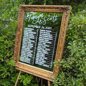 mirror seating chart gold frame calligraphy wedding signs Northern Virginia calligrapher