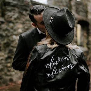 custom painted leather jacket wedding jacket Northern Virginia calligrapher